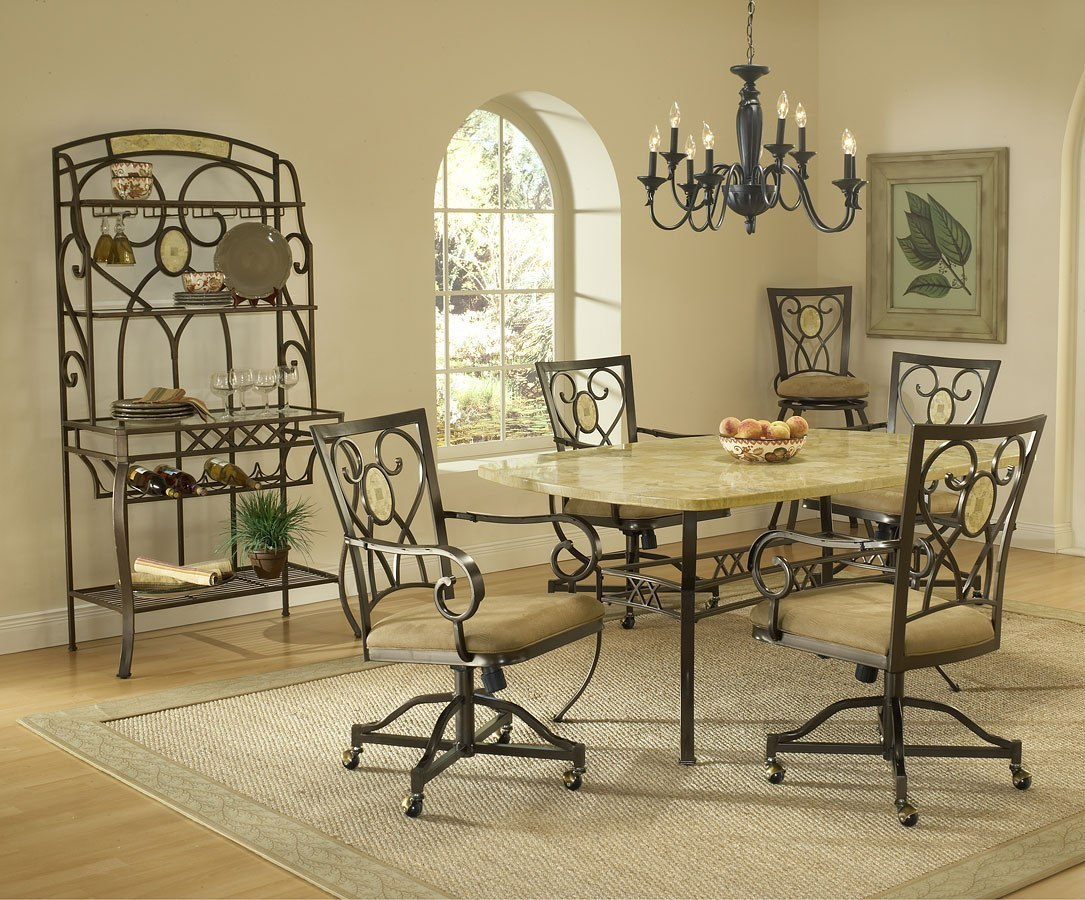 Brookside Rectangular Dining Room Set W Caster Chairs