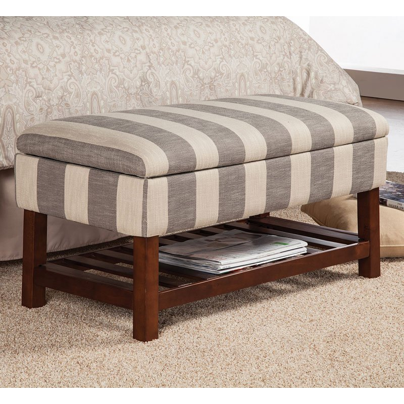 Attirant Striped Storage Bench W/ Slate Shelf