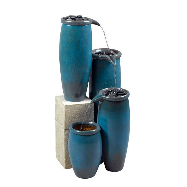 Agua Indoor/Outdoor Floor Fountain (Blue Glaze)