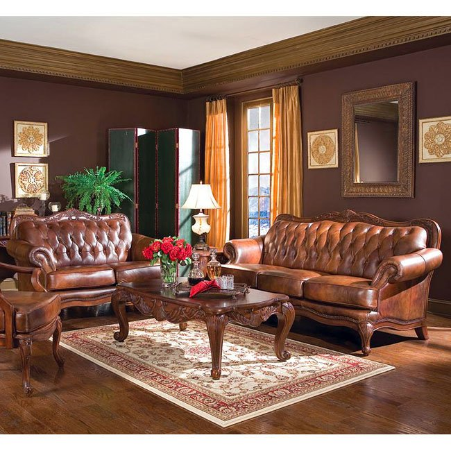 Room Furniture Sets: Victoria Leather Living Room Set Coaster Furniture, 5