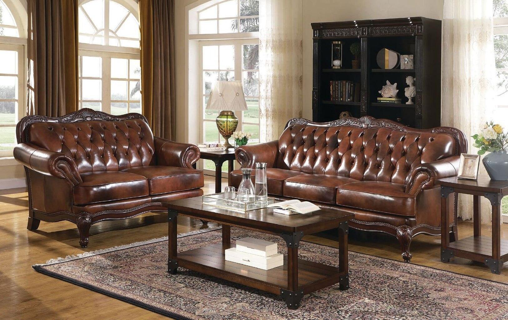 Victoria Leather Living Room Set Coaster Furniture 5