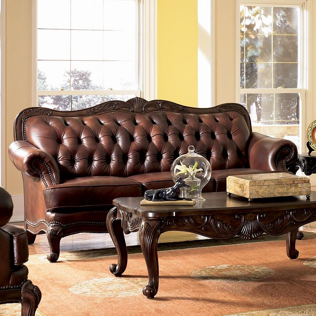 Reviews For Leather Sofas: Victoria Rolled Arm Leather Sofa Coaster Furniture, 5