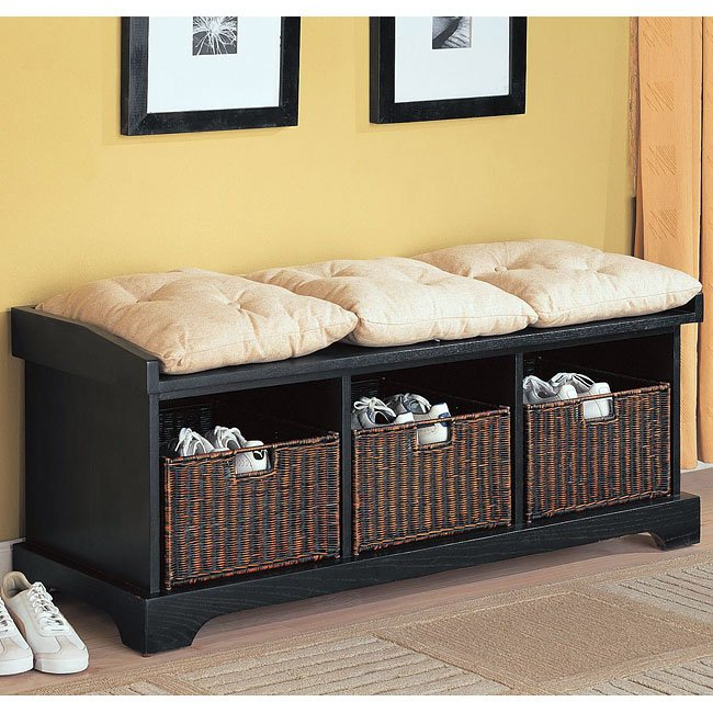 Storage Bench w/ Baskets (Black)