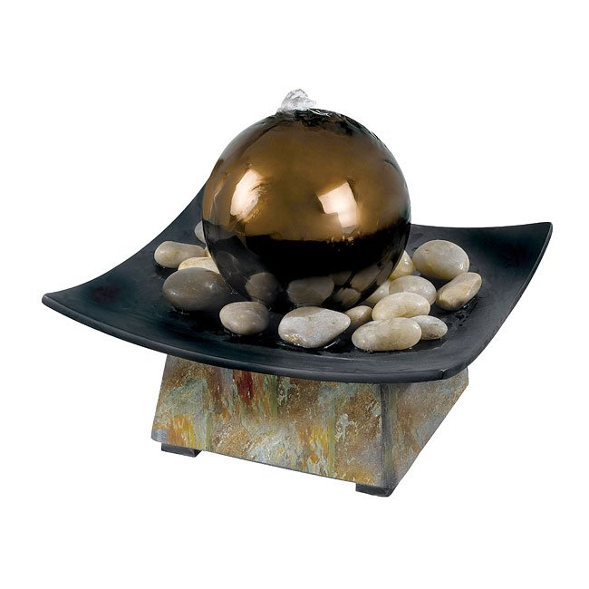 Sphere Indoor Table Fountain (Natural Green Slate)