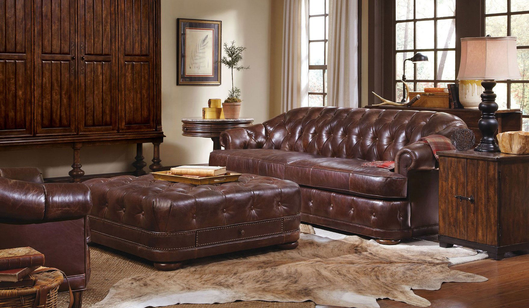 Kennedy Walnut Living Room Set W Chesterfield Sofa Art Furniture Furniture Cart
