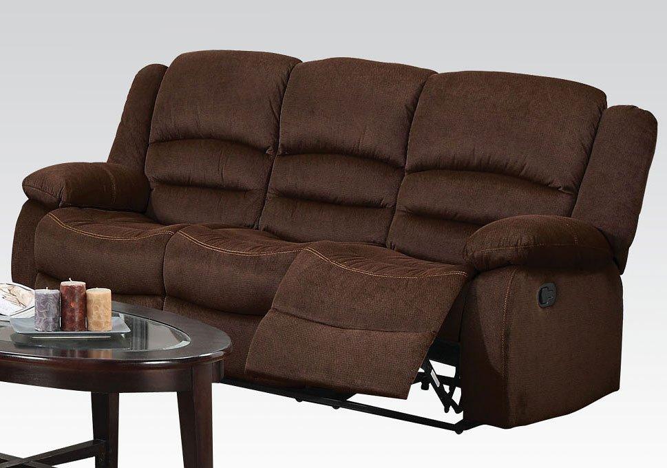 Bailey Reclining Sofa Chocolate Acme Furniture