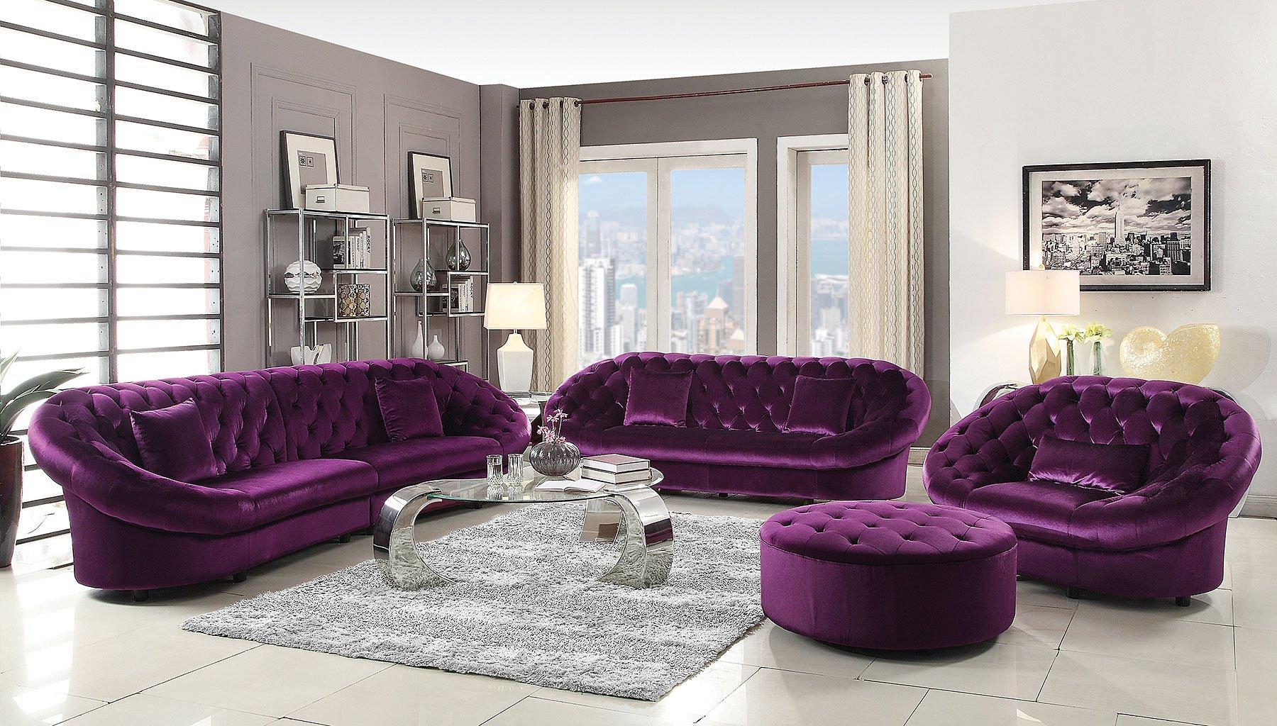 Romanus Living Room Set (Purple) Coaster Furniture
