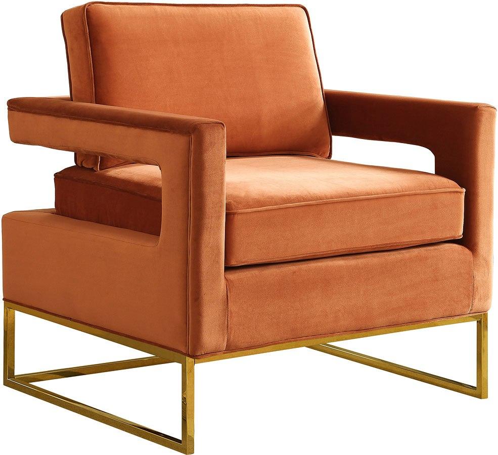 Ashley Furniture Meridian Idaho: Noah Velvet Accent Chair (Cognac) Meridian Furniture