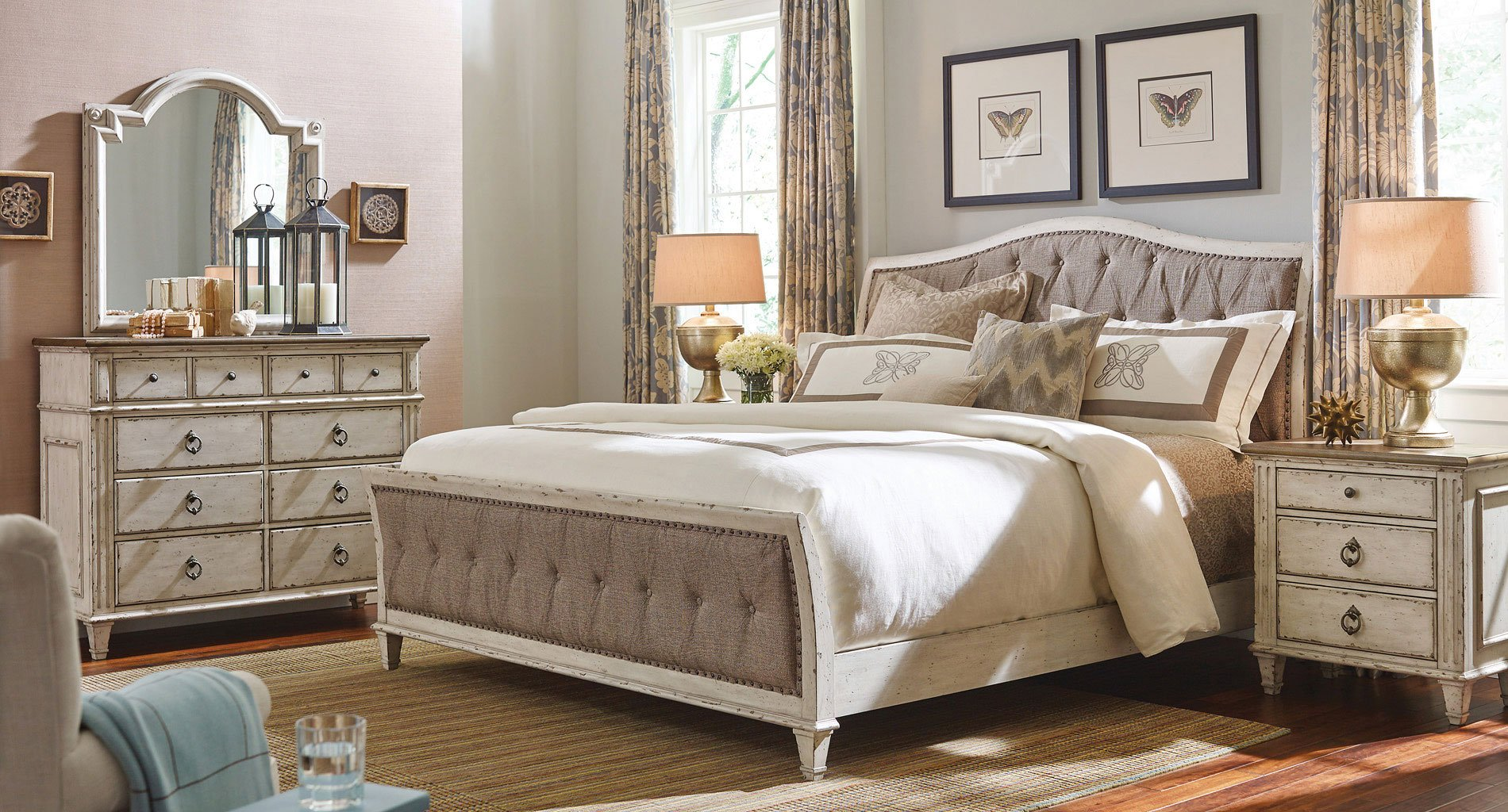 Southbury upholstered sleigh bedroom set american drew furniture cart for Upholstered sleigh bedroom set