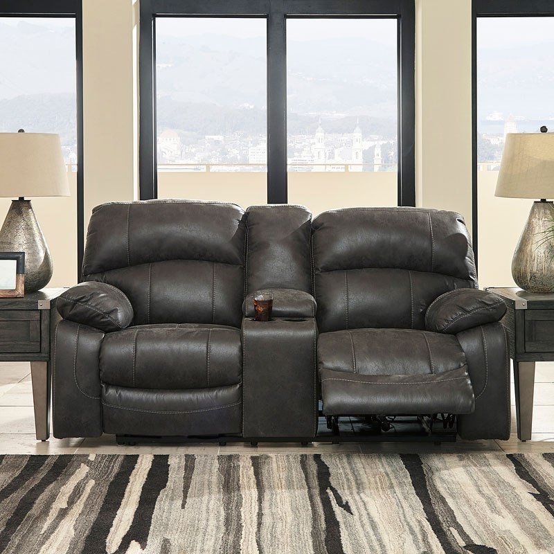 Dunwell Steel Power Reclining Loveseat W Adjustable Headrest