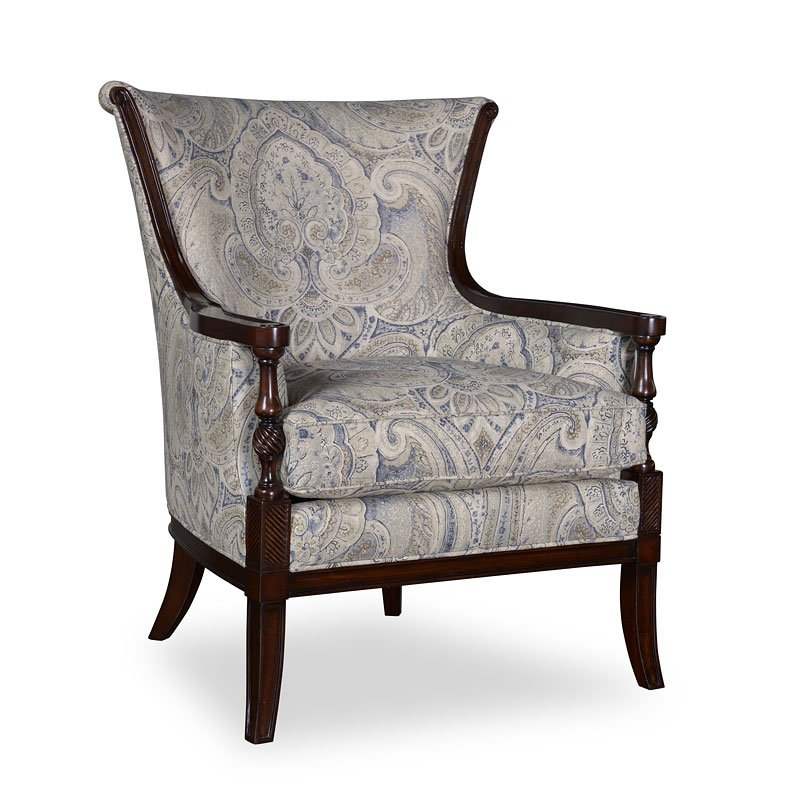 Wondrous Bristol Linen Carved Wood Accent Chair Unemploymentrelief Wooden Chair Designs For Living Room Unemploymentrelieforg