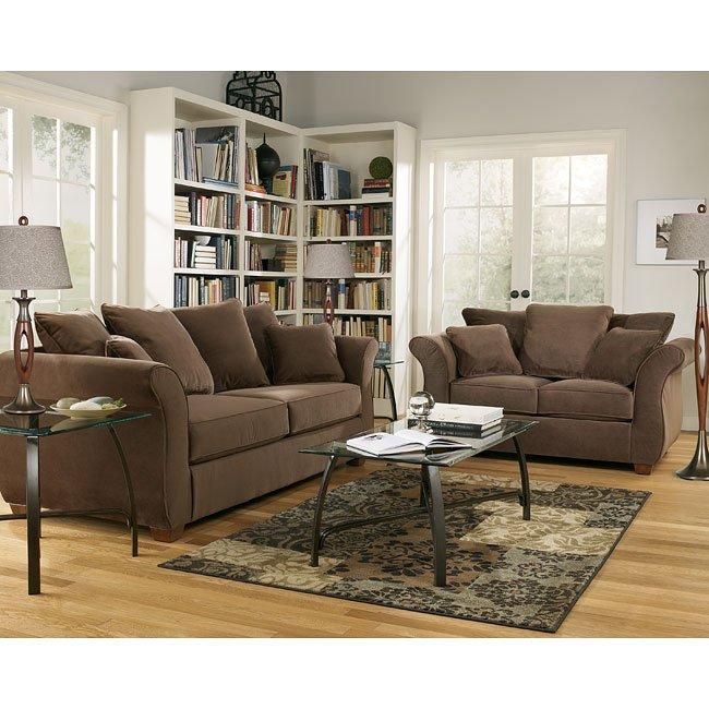 chandler walnut living room set signature design by. Black Bedroom Furniture Sets. Home Design Ideas