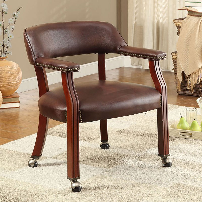 Office Guest Chair W Caster Wheels Brown Coaster