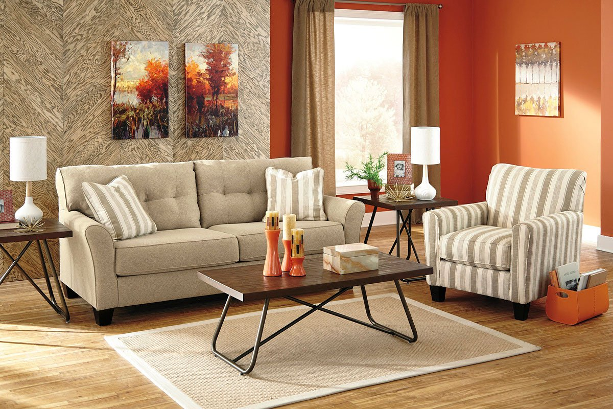 laryn khaki living room set benchcraft 1 reviews