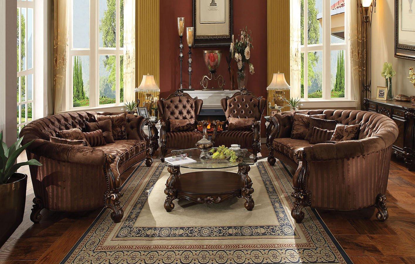 Versailles Crescent Living Room Set Brown Velvet Acme