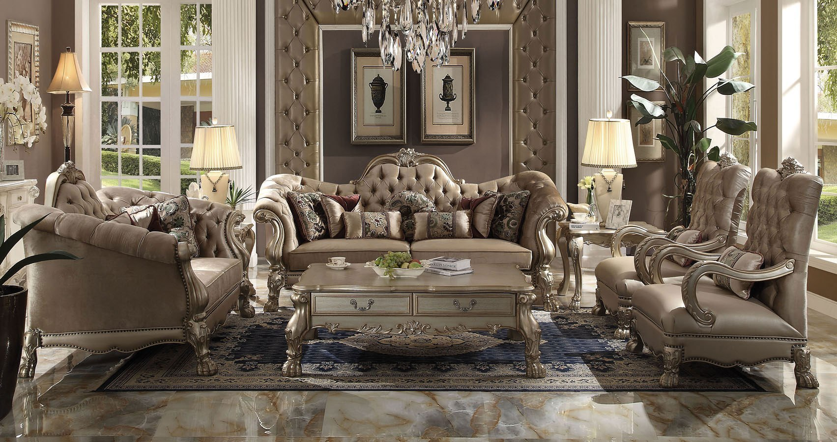 Dresden Living Room Set Bone Velvet Acme Furniture