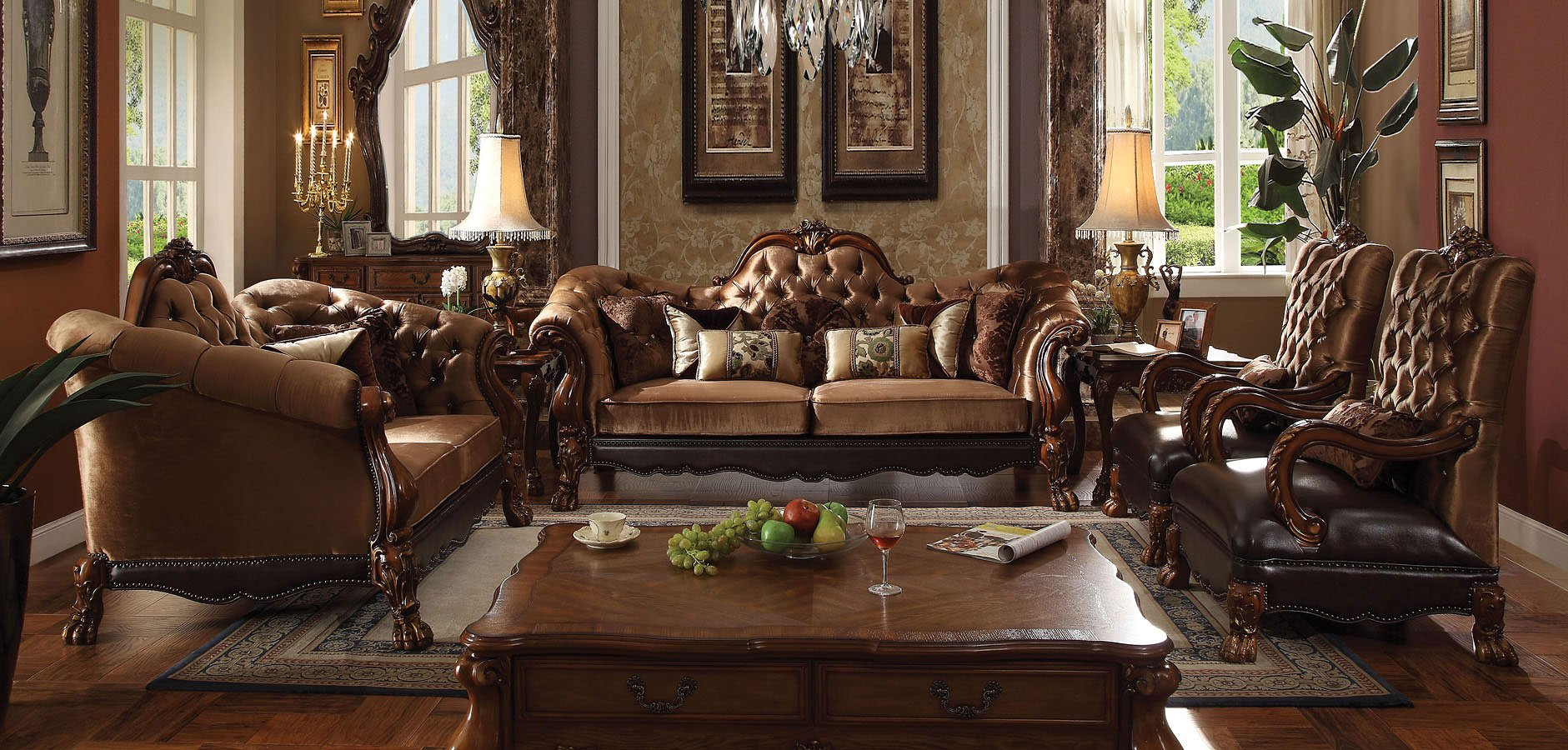 Dresden Living Room Set (Golden Brown Velvet)