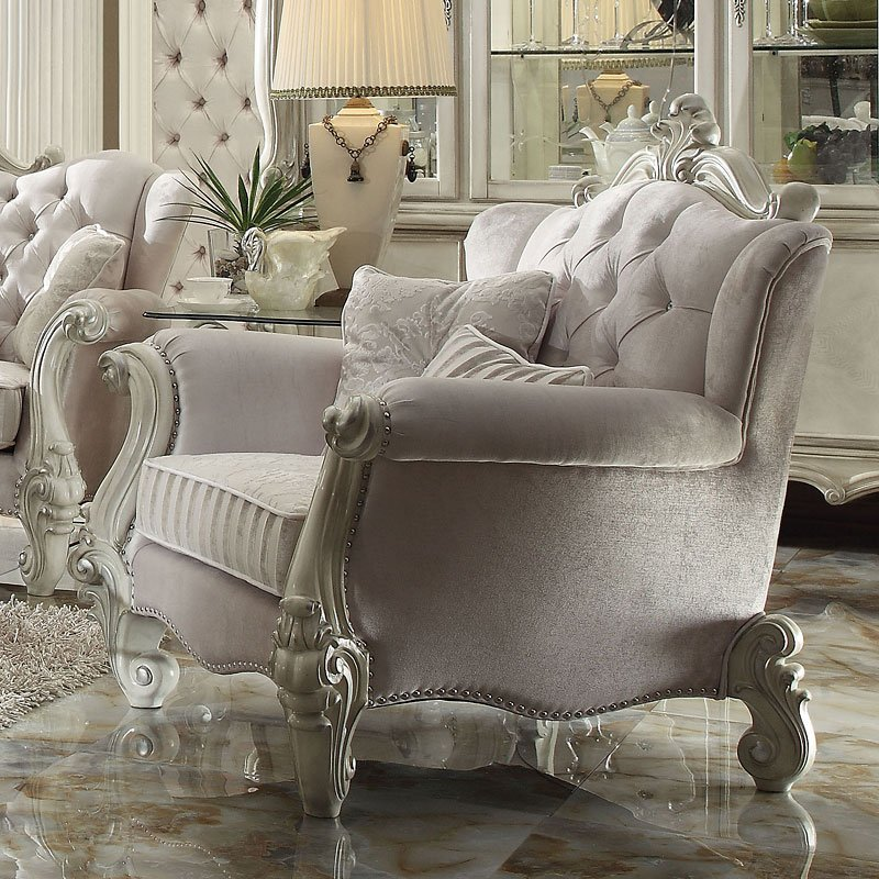 Ivory Living Room Furniture: Versailles Living Room Set (Ivory Velvet) Acme Furniture