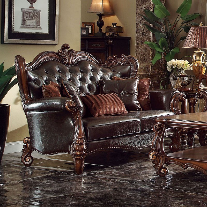 Versailles Living Room Set (Dark Brown PU) Acme Furniture