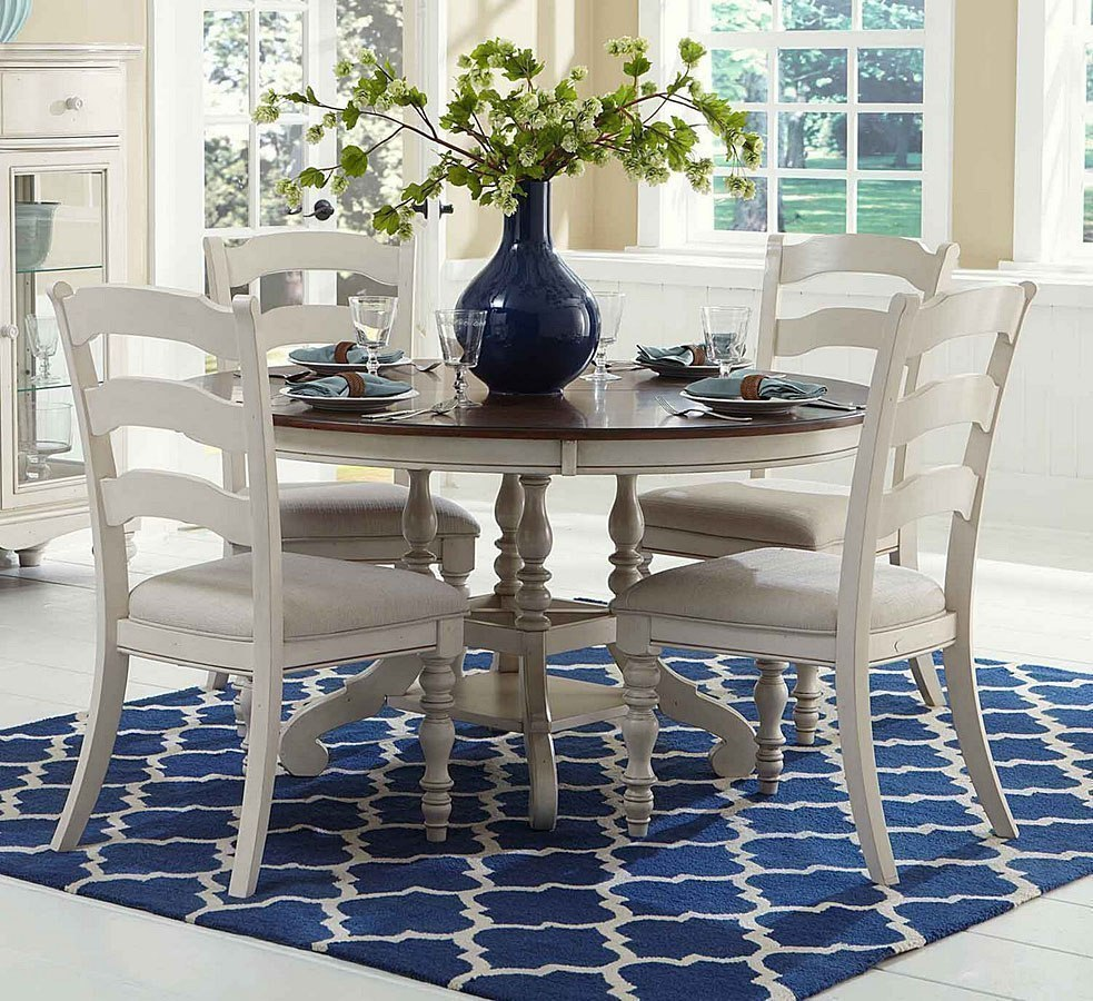 Pine Island Round Dining Room Set W Ladder Back Chairs