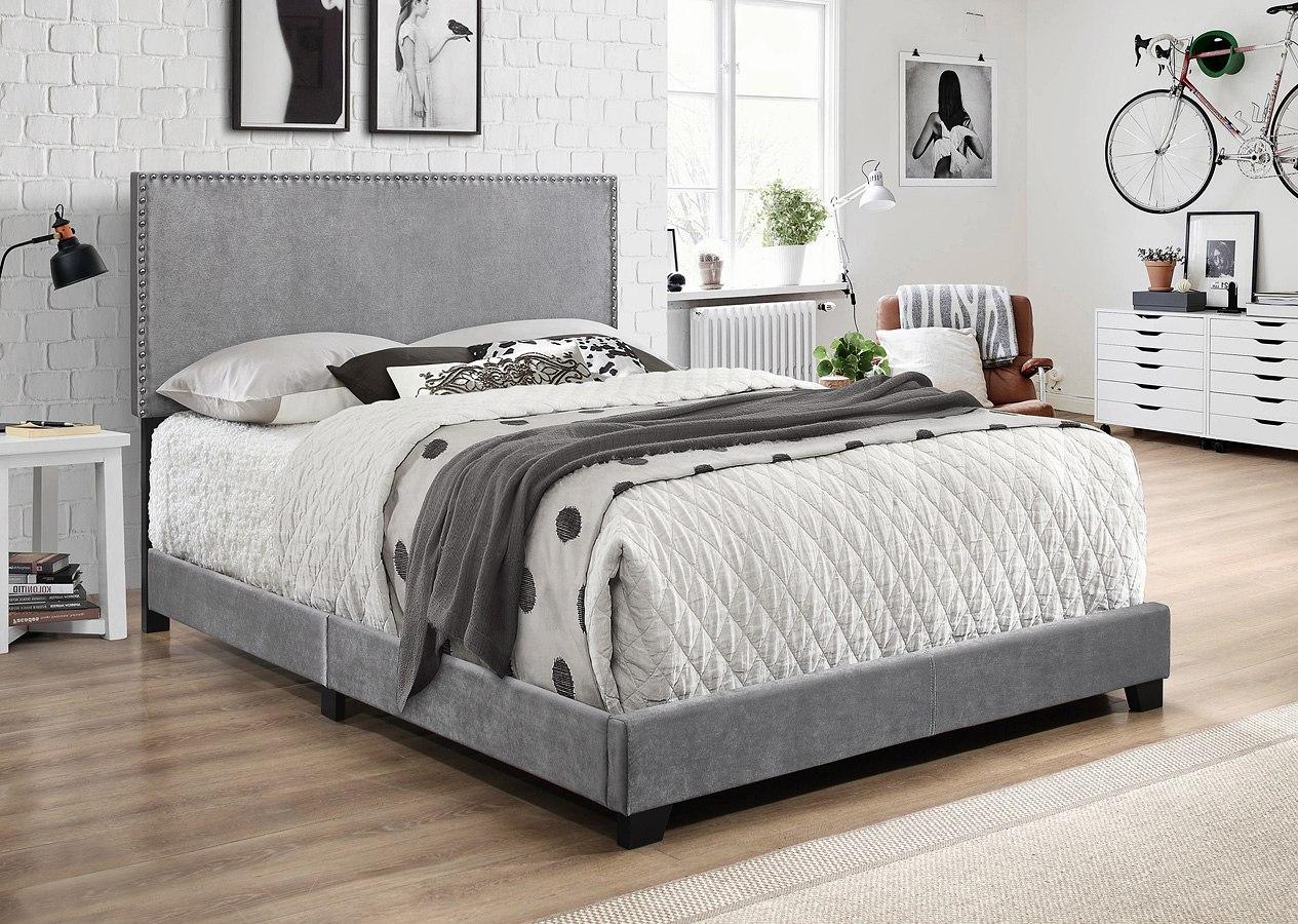 Erin Velvet Upholstered Bed Grey Crown Mark Furniture Furniture Cart