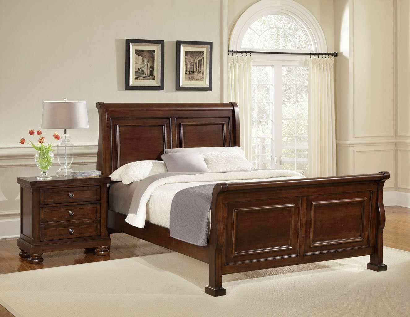Superieur Reflections Sleigh Bedroom Set (Dark Cherry)
