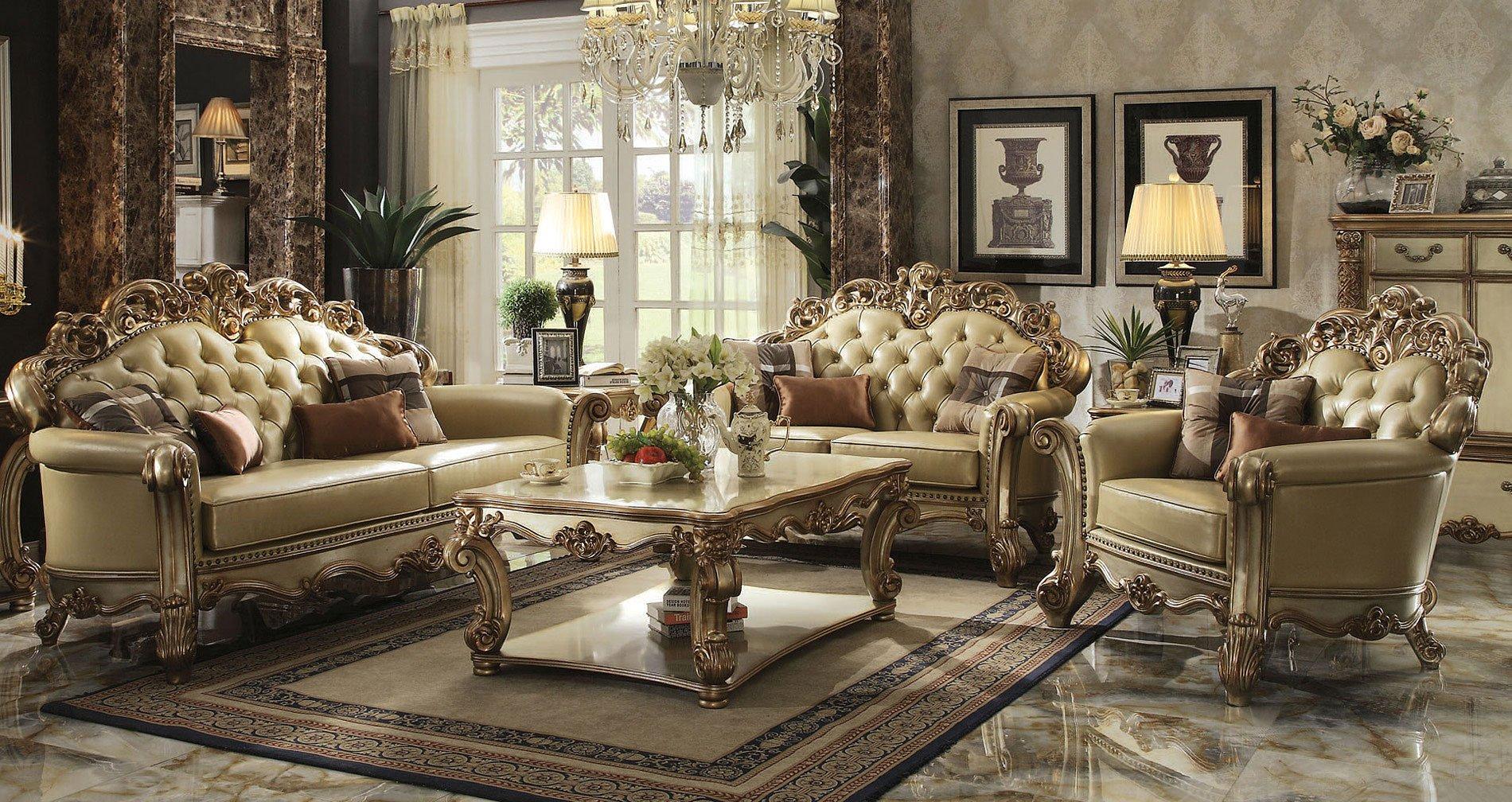 Vendome Living Room Set (Gold Patina / Bone PU)