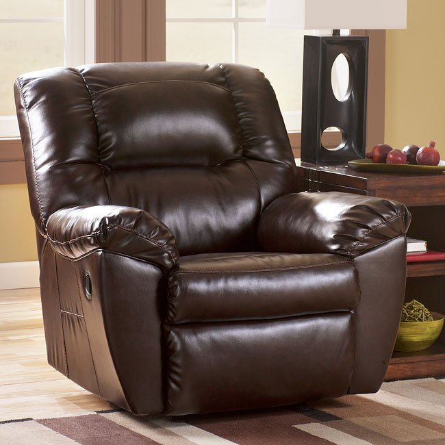 Rouge DuraBlend-Mahogany Rocker Recliner w/ Power