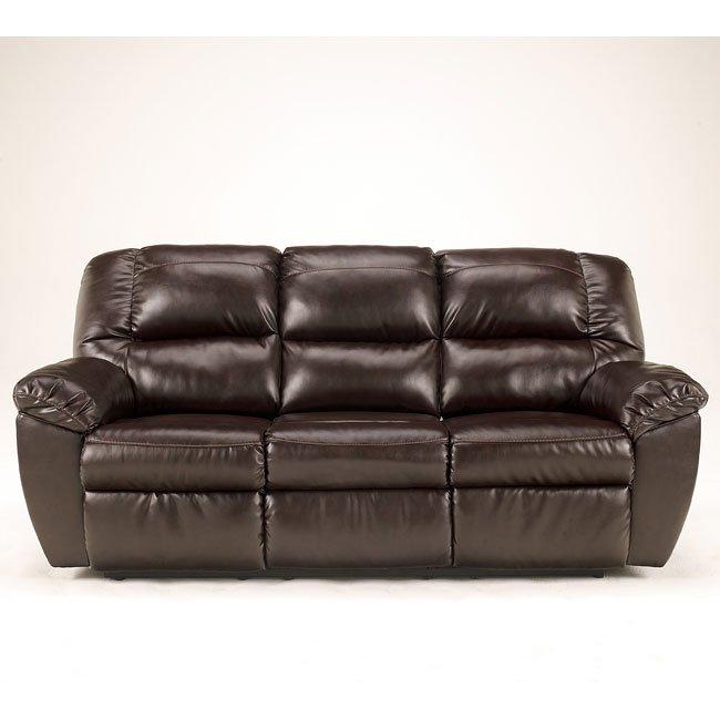 Rouge DuraBlend-Mahogany Reclining Sofa w/ Power