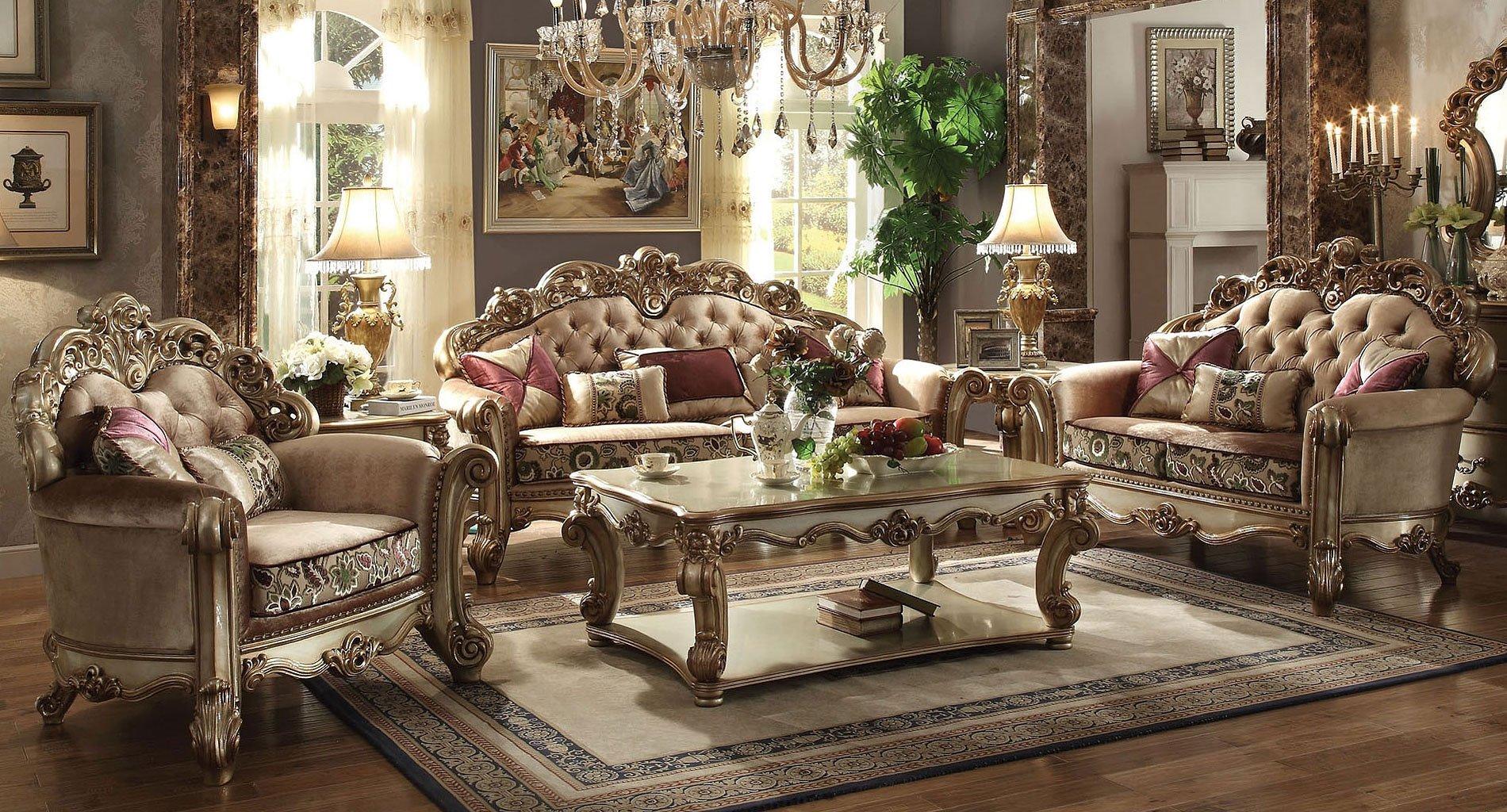 Vendome Living Room Set Gold Patina Bone Fabric