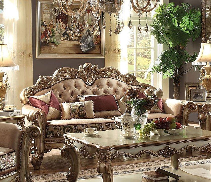 Vendome Sofa (Gold Patina / Bone Fabric) By Acme Furniture