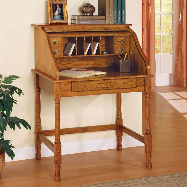 Palmetto Small Roll Top Secretary Desk Oak Coaster Furniture