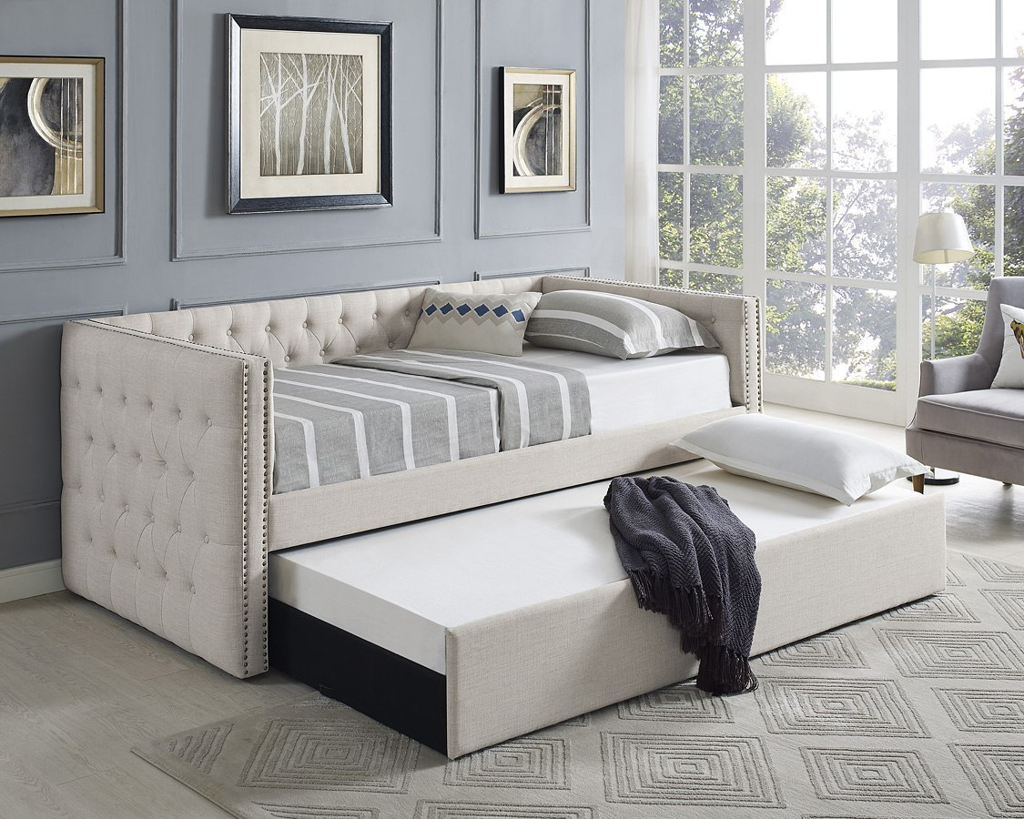 Trina daybed w trundle ivory crown mark furniture furniture cart