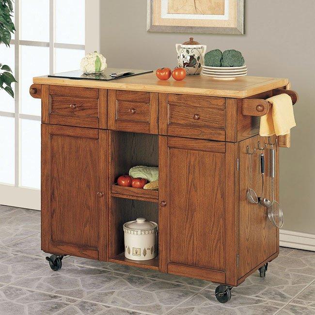 Medium Oak Kitchen: Medium Oak 3-Drawer Kitchen Butler Powell Furniture