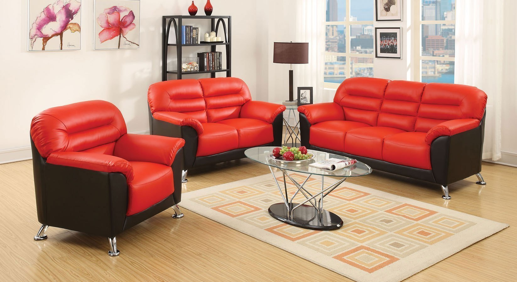 Sibba Living Room Set (Red/Black) Acme Furniture | Furniture Cart