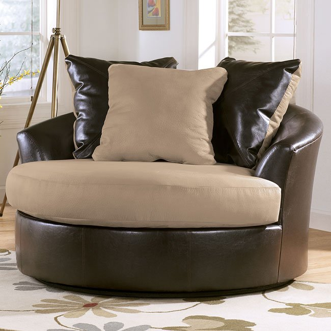Logan - Stone Oversized Swivel Accent Chair