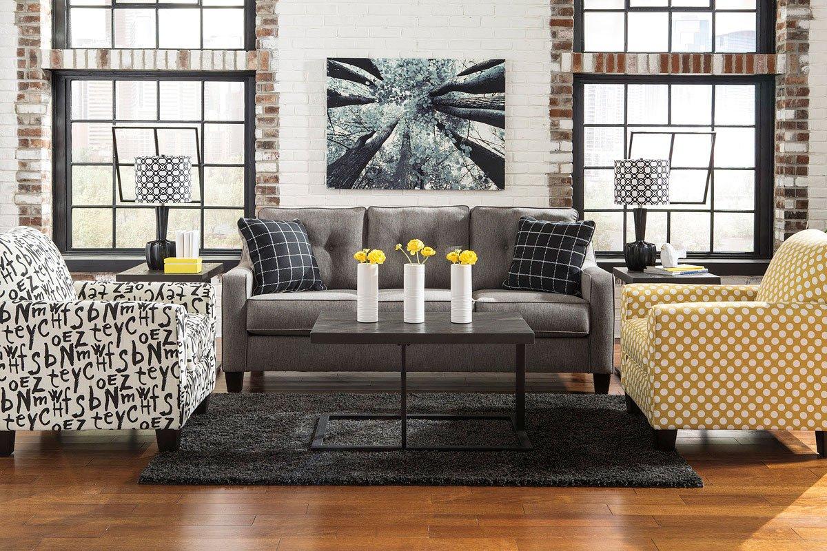 Brindon Charcoal Living Room Set Benchcraft Furniture Cart