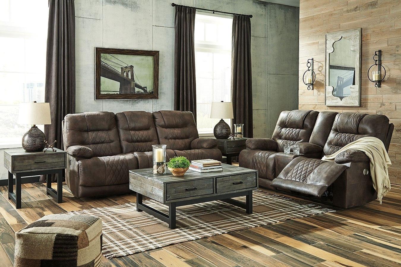 welsford walnut power reclining living room set w. Black Bedroom Furniture Sets. Home Design Ideas