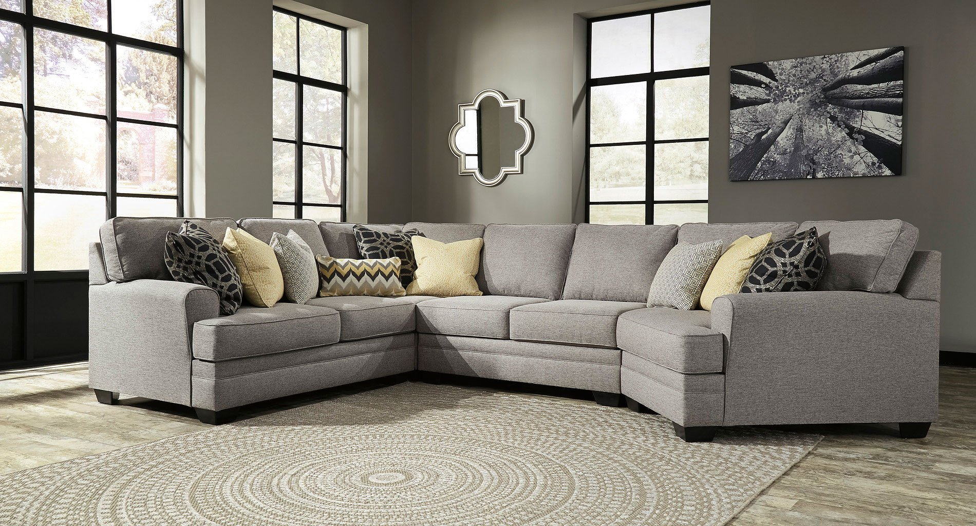 Cresson Pewter Modular Sectional W/ Cuddler