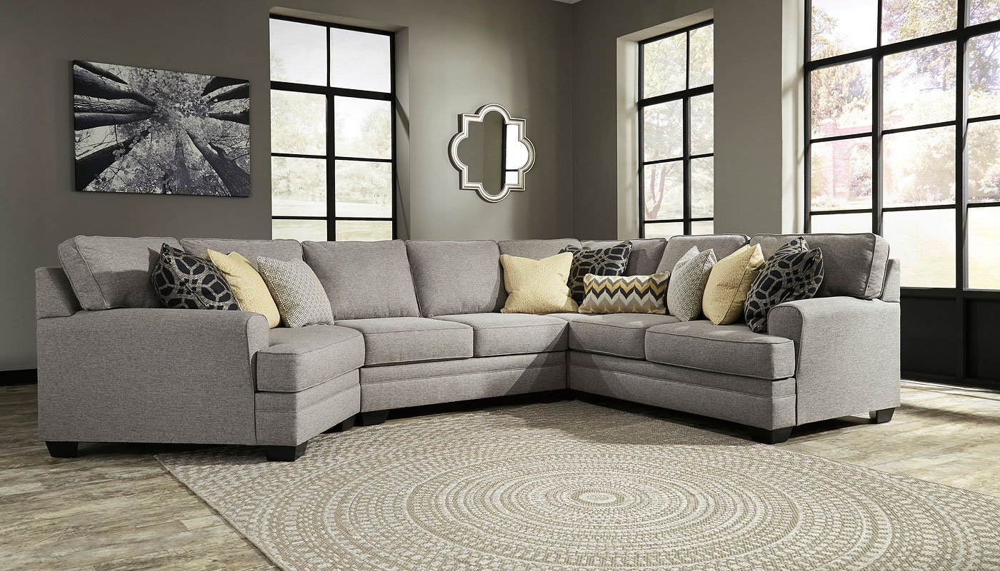 Cresson Pewter Modular Sectional W Cuddler Signature