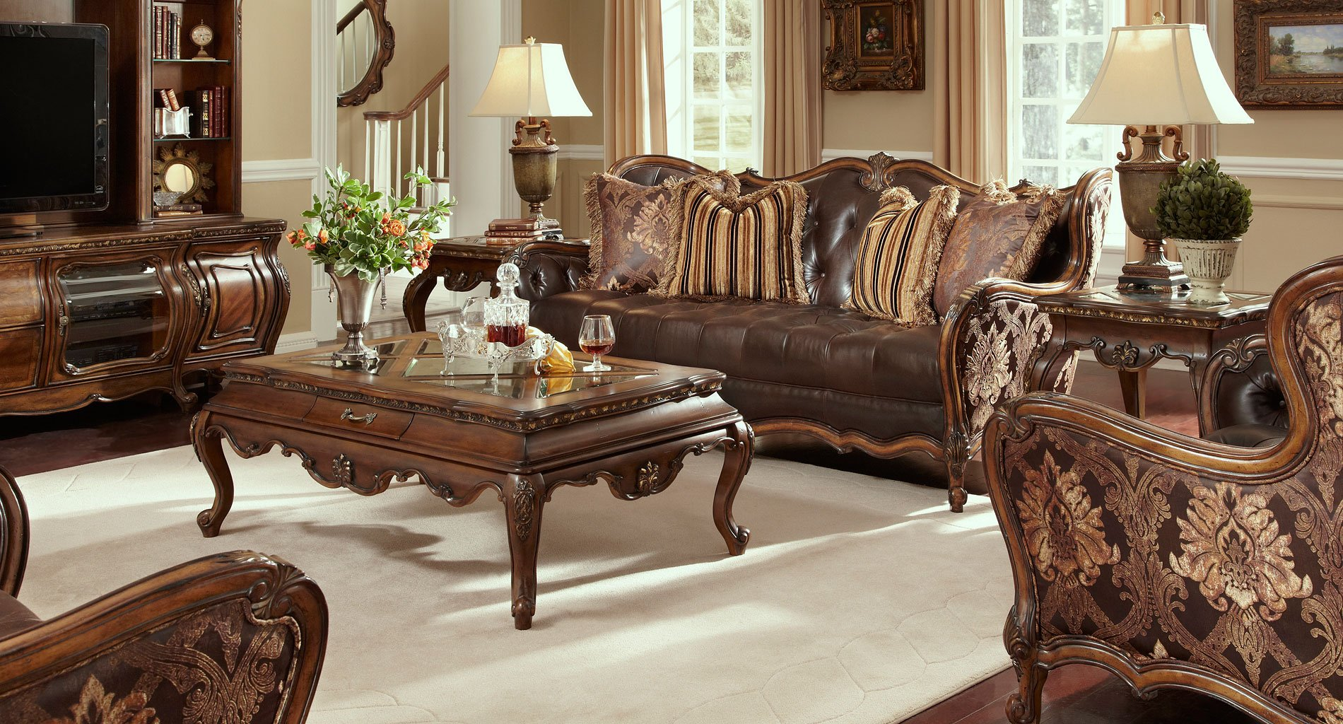 Charmant Lavelle Melange Leather/Fabric Living Room Set