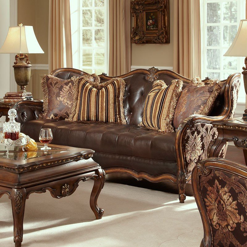 Merveilleux Lavelle Melange Leather/Fabric Wood Trim Tufted Sofa (Chocolate)