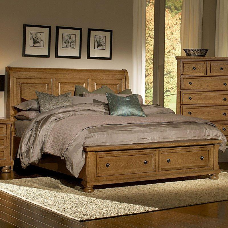 Reflections Sleigh Storage Bed Oak Vaughan Bassett Furniture Cart