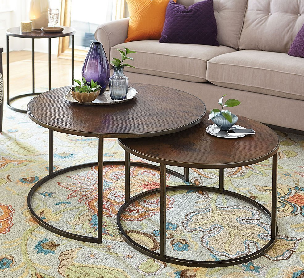 Sanford Round Nesting Cocktail Table Hammary Furniture Cart - Round nesting cocktail table