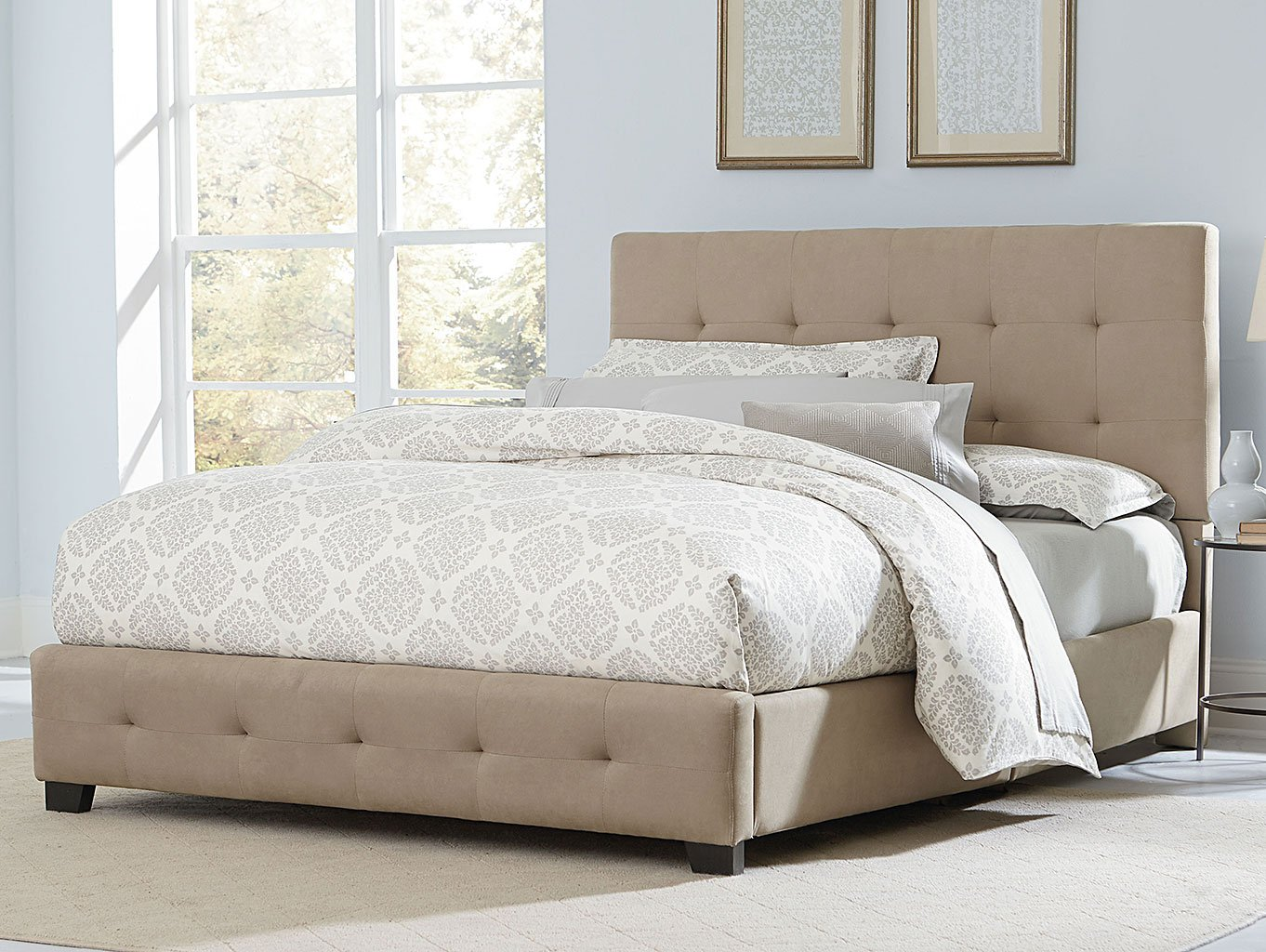 Madison Square Upholstered Bed Sand Standard Furniture