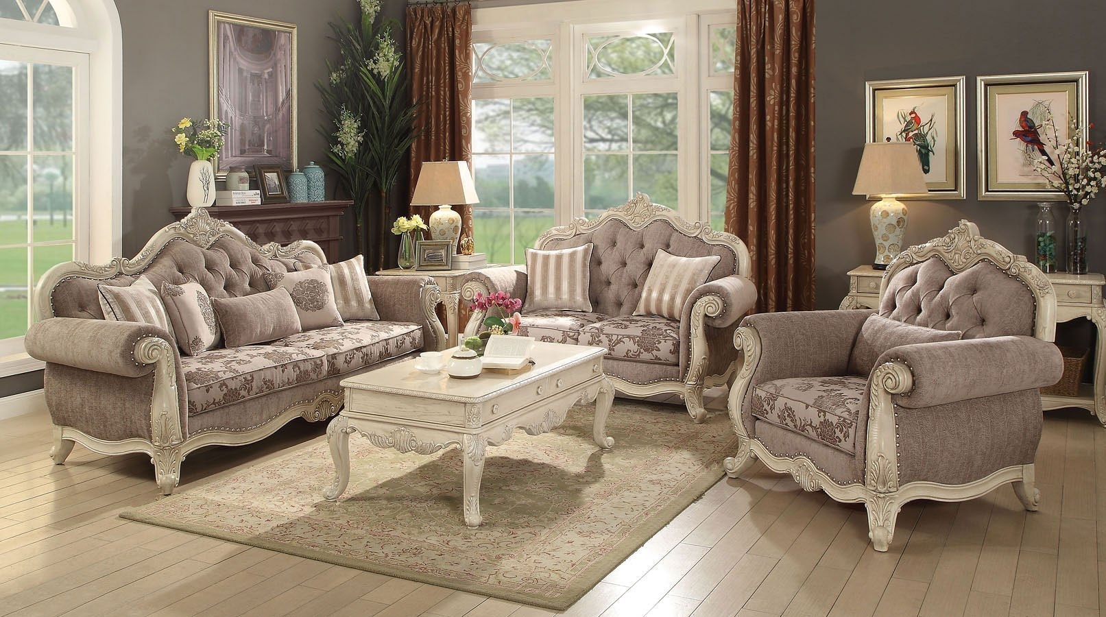 Ragenardus living room set antique white acme furniture - Antique living room furniture sets ...