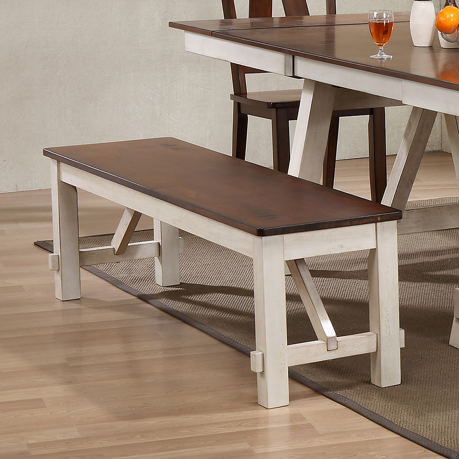 Winslow Bench (Off White/ Rustic Cherry) Bernards