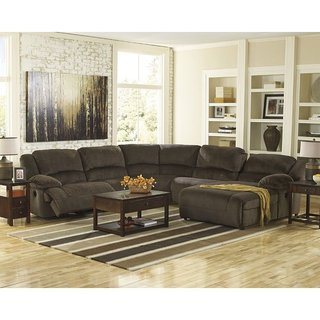 Toletta Chocolate Reclining Sectional Set