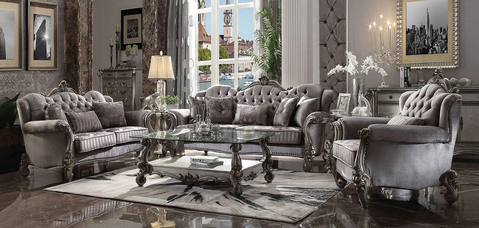 Versailles Living Room Set Antique Platinum Acme