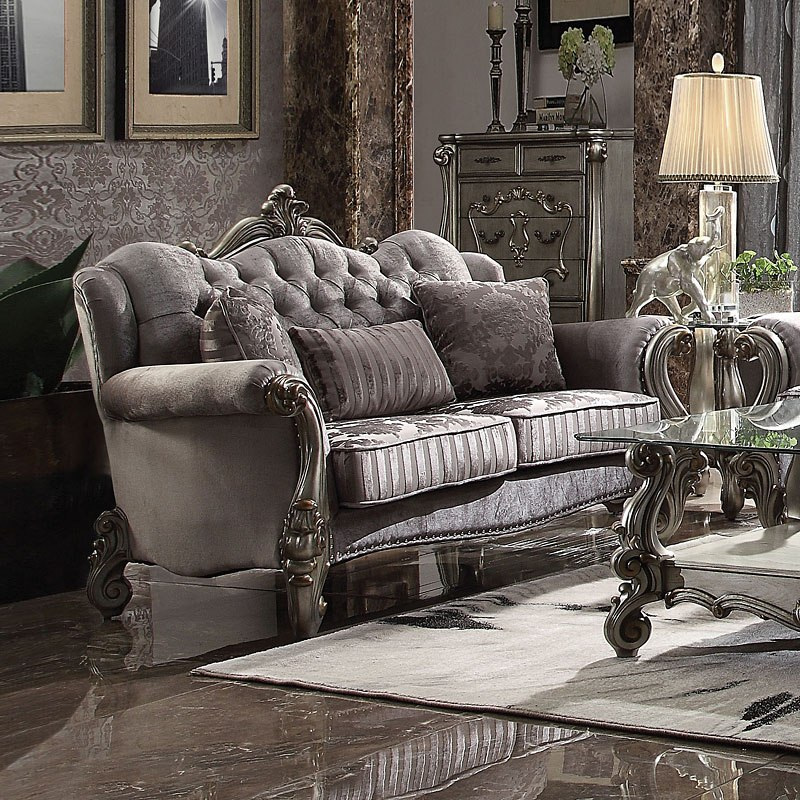 Brilliant Versailles Living Room Set Antique Platinum Home Interior And Landscaping Ponolsignezvosmurscom
